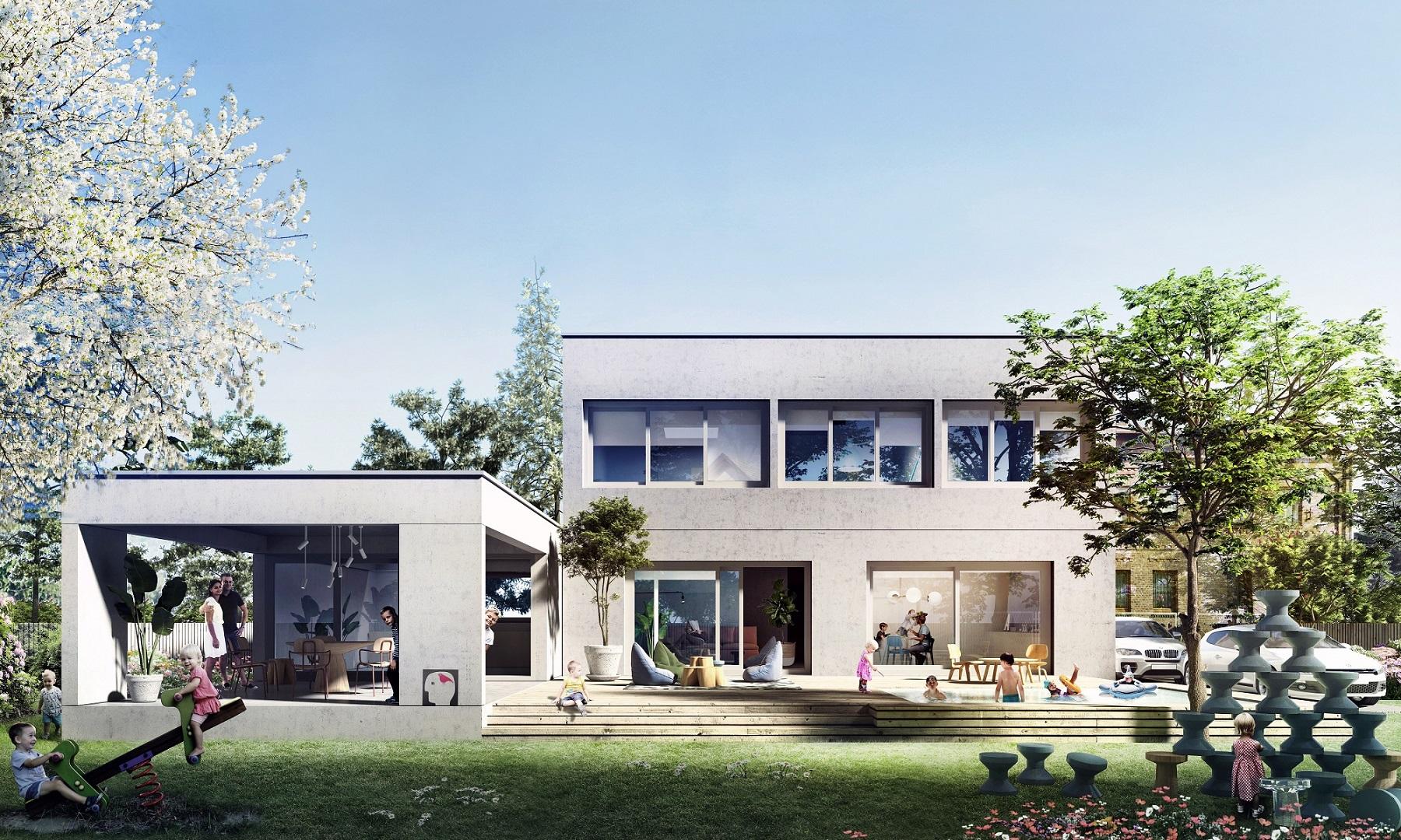 dom jednorodzinny , minimalizm, architektura betonowa